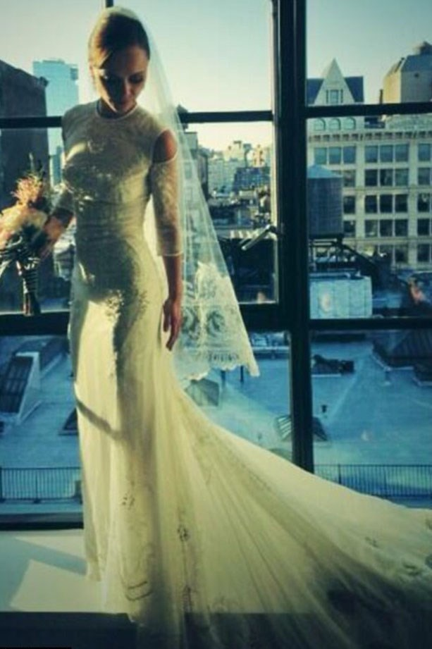 """Three days after Christina Ricci tied the knot in custom <a href=""""http://www.elle.com.au/runway/ready-to-wear/aw14-15/2014/3/givenchy-aw14-15/"""">Givenchy</a>, the actress tweeted this image with the caption """"I'm sorry I have to share what @riccardotisci made for me!! #iloveyouricky!"""""""