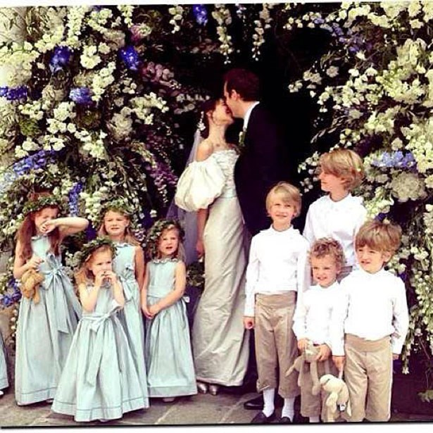 """London-based super-stylist Caroline Sieber wed her beau Fritz von Westenholz in a voluminous light grey gown by Karl Lagerfeld for <a href=""""http://www.elle.com.au/news/fashion-news/2014/5/celebrities-hit-dubai-as-chanel-unveils-resort-2015/"""">Chanel</a>. The Austrian beauty shared this snap on Instagram surrounded by flower girls dressed in Claire Waight Keller for Chloé, no less."""
