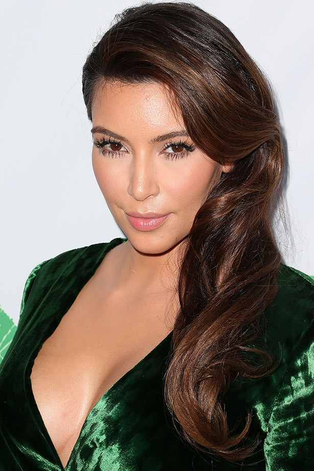 A side-swept and glamour-filled Kim Kardashian in 2012.