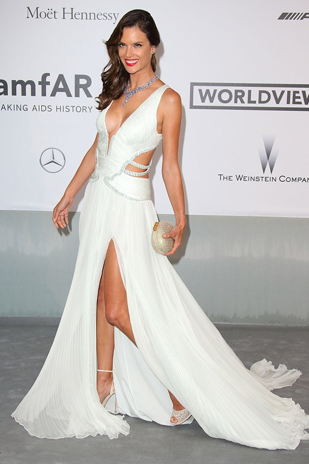 Alessandra Ambrosio in a very sexy cut-out gown by Roberto Cavalli.