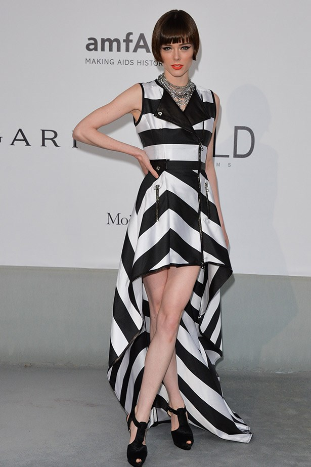 Coco Rocha rocks a geometric bob and wears a IRFE dress.