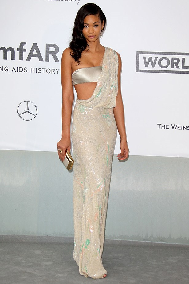 Chanel Iman looked like a gorgeous goddess in this metallic draped gown by Reem Acra.