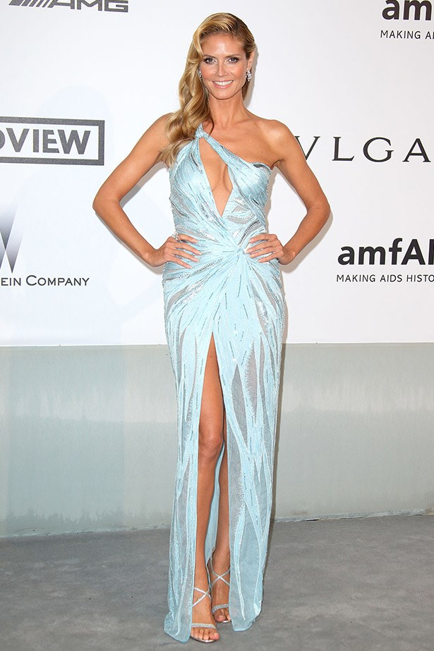 Heidi Klum worked a split in this embellished, icy Versace gown.
