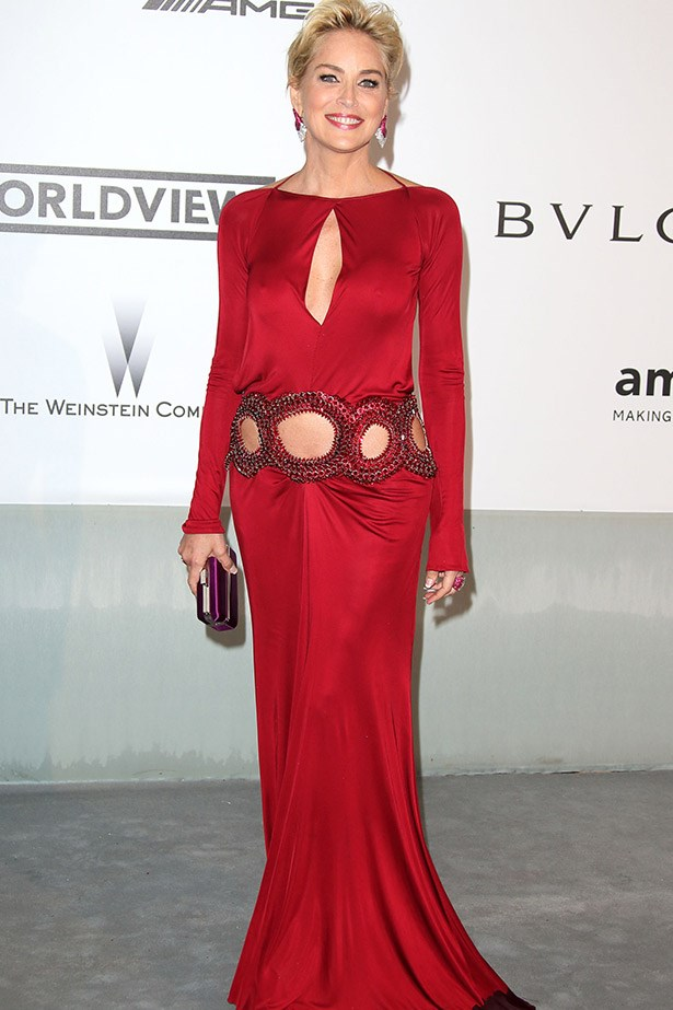 If only we could all age like Sharon Stone. Here she is wearing a ruby Roberto Cavalli gown.