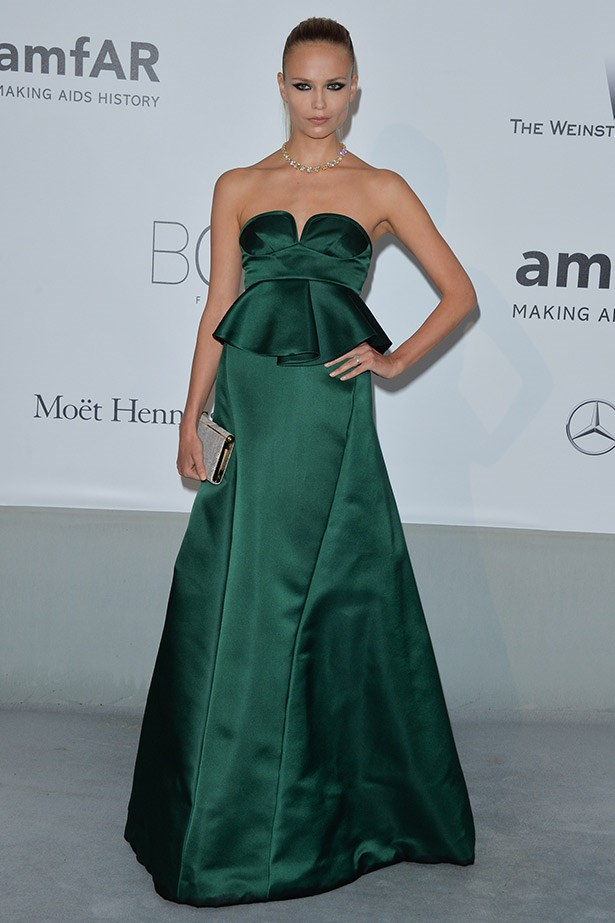 Making us want to add more emerald to our wardrobe, Natasha Poly oozed glamour in this strapless peplum Marni gown.