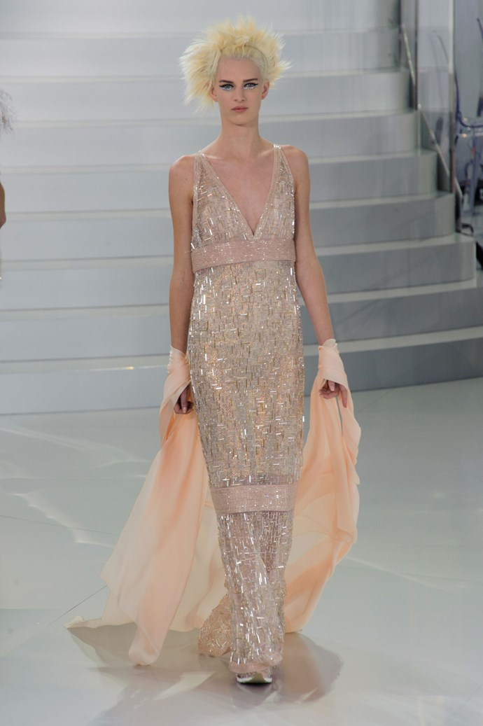 This metallic tweed gown from Chanel's SS14 Haute Couture collection would have been a bold choice for Kim Kardashian, but one we would have welcomed.