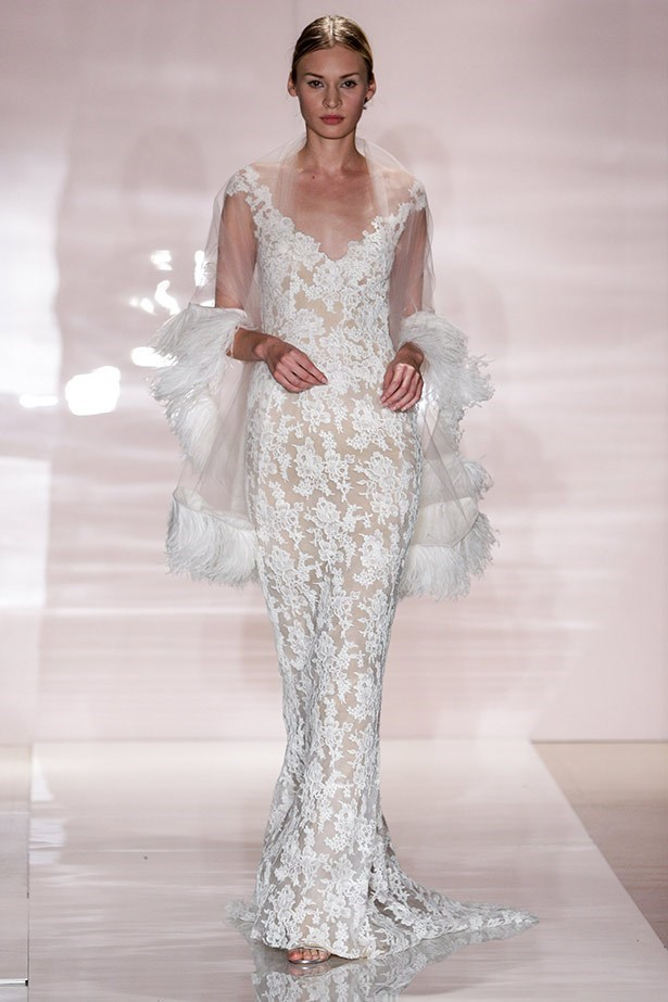 Another standout from the A/W14 Bridal collections, this Reem Acra gown is more Kim's bag, with a cool non-princess-y vibe. The silhouette would have looked incredible on her body too.