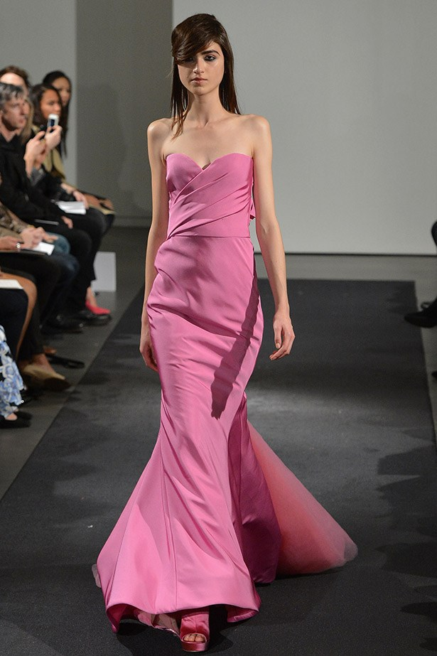 We know from her last wedding that Kim Kardashian is already a Vera Wang fan and this pink, strapless dress from A/W14 collection would have felt modern, fresh and chic.