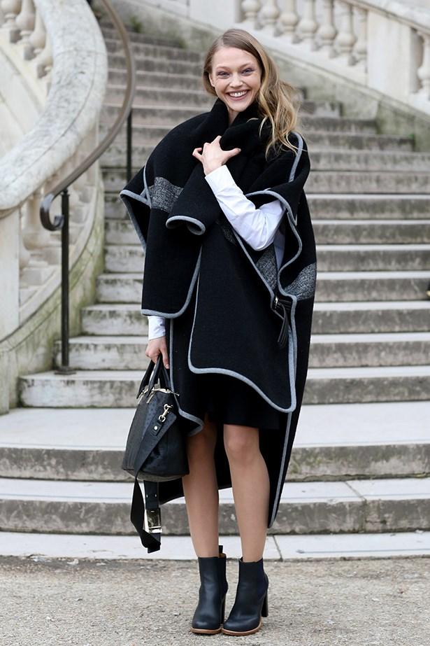 Sasha Pivovarova is the poster girl for winter dressing in this Chloé coat.