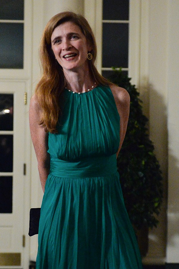 """<strong>Samantha Power, 43 <br> Rank: </strong>63<br> Currently the United States Ambassador to United Nations, Samantha Power is a serial over-achiever. She's written several books, one of which earned her a Pulitzer Prize (<em>A Problem from Hell: America and the Age of Genocide</em>),worked as a professor at Harvard, as a a journalist and also on Barack Obama's 2008 presidential campaign team before she stepped down following controversy surrounding her calling Hillary Clinton """"a monster"""". President Obama describes her as """"one of our foremost thinkers on foreign policy."""""""