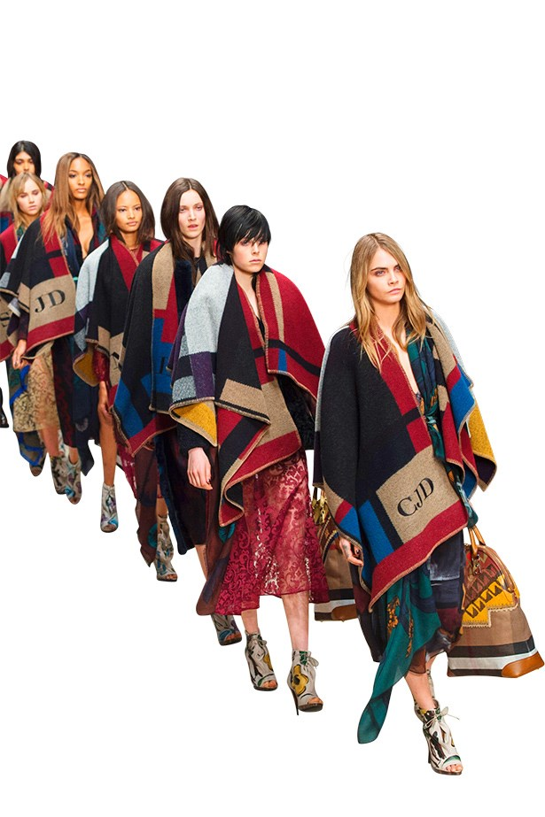 <p><strong>Hot Off The Loom</strong></p> <p>With Cara Delevingne leading the pack, Burberry Prorsum's AW14-15 blanket brigade saw models score their very own monogrammed lamb's wool and cashmere shawls, on and off the runway. We'd change our name for one.</p>