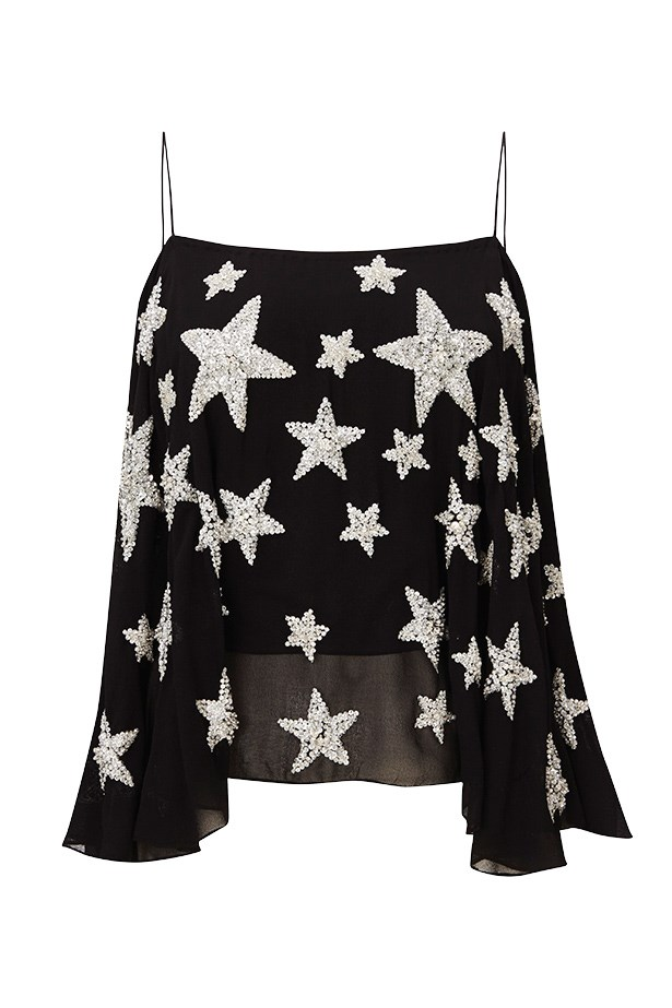 """<p><strong>1. DEMAND THE STARTREATMENT</strong></p> <p>Whether the glitter is on your face (like Moss at her 34th birthday) orscattered across acami, this celestial motif says: """"Make wayfor the super.""""</p> <p>Camisole, $150, Kate Moss For Topshop, (02)8072 9300</p>"""
