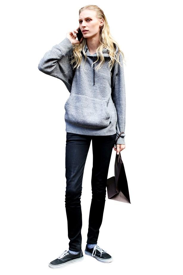Model wearing sneakers