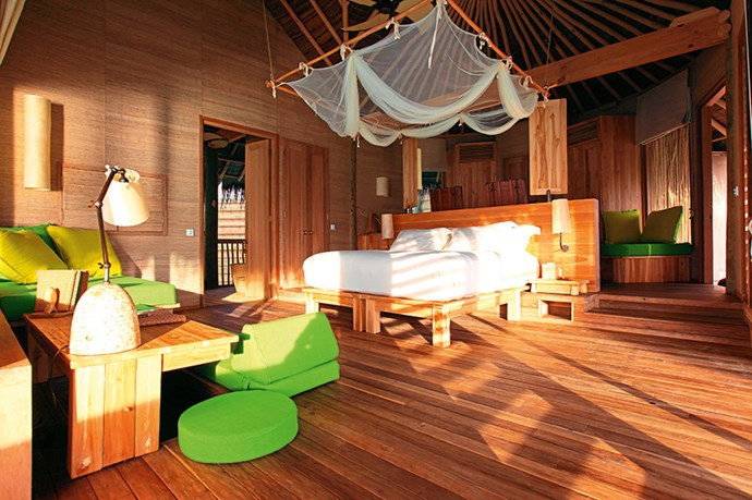 "<p><strong>Check in</strong></p> <p>Choose between a beach villa where you can gaze out to the ocean or one sitting on the water, complete with hammocks resting above the waves and a glass bathtub. These rooms are honeymoon bait and conducive to the type of cabin fever newlyweds are after.</p> <p>Rooms from approx $830 per night. Six Senses, Laamu Atoll, <a href=""http://www.sixsenses.com"">sixsenses.com</a></p>"