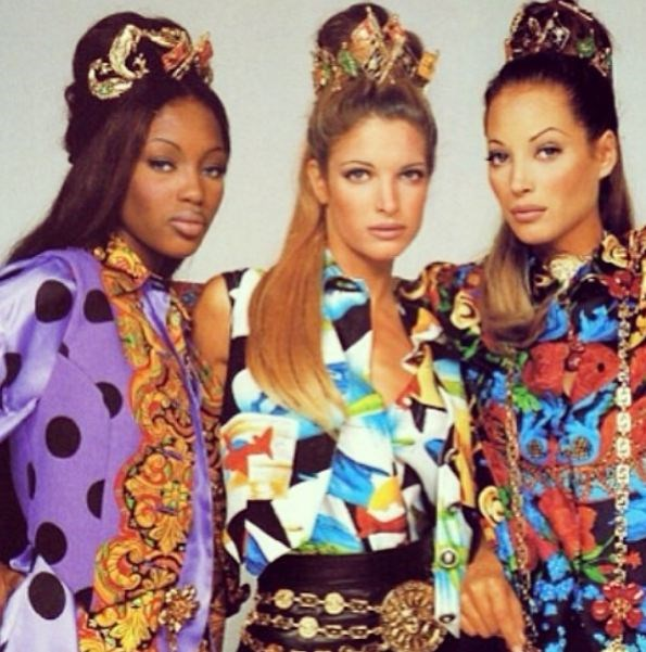 This flashback to a decorative scrunchied-up Naomi Campbell, Stephanie Seymour and Christy Turlington is everrrything.