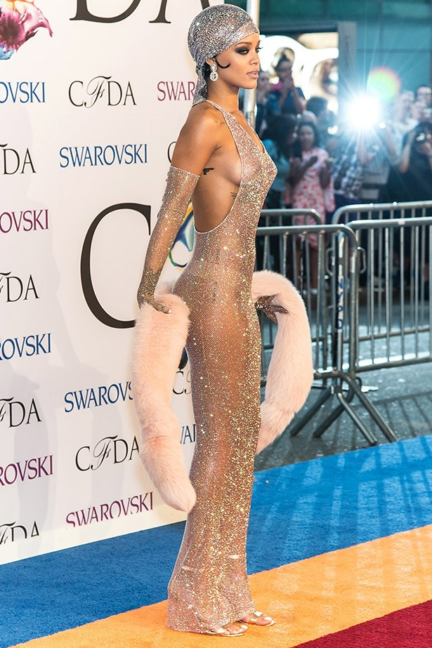 This translucent Adam Selman dress constructed from over 216,000 crystals that Riri wore to the CFDA awards earlier this week would have to be the sartorial equivalent of an internet virus. Thanks to social media, photographs of the frock instantly went global as folks gawped over her sheer brazenness at stepping out on the red carpet with everything on show.