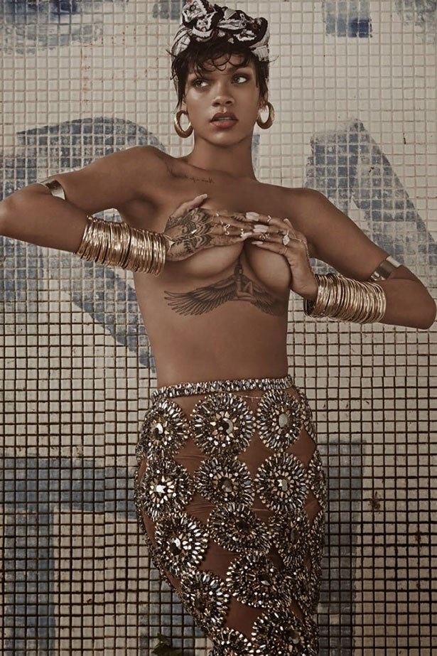 Her now infamous Lui cover (which caused the shut down her Instagram account) not the first time that RiRi's stripped off for a cover shoot. In this feature for <em>Vogue Brasil</em>, she showed off her still fresh chest tattoo by going topless, wearing just a Burberry skir