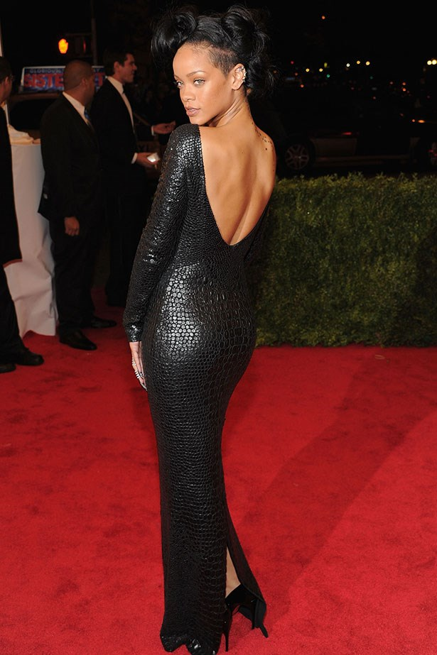 Keeping it sexy at the 2012 Costume Institute Gala in a slinky black number by Tom Ford.