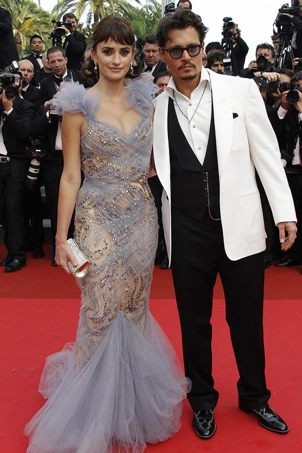 With co-star Penelope Cruz at the <em>Pirates of the Caribbean : On Stranger Tides'</em> screening at Cannes Film Festival.