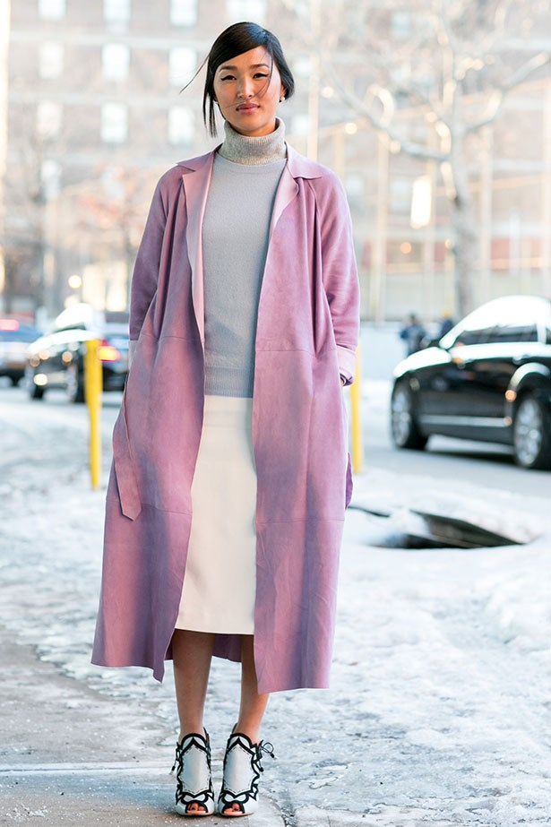 Blogger Nicole Warne demonstrates how to layer icey pastels at New York Fashion Week