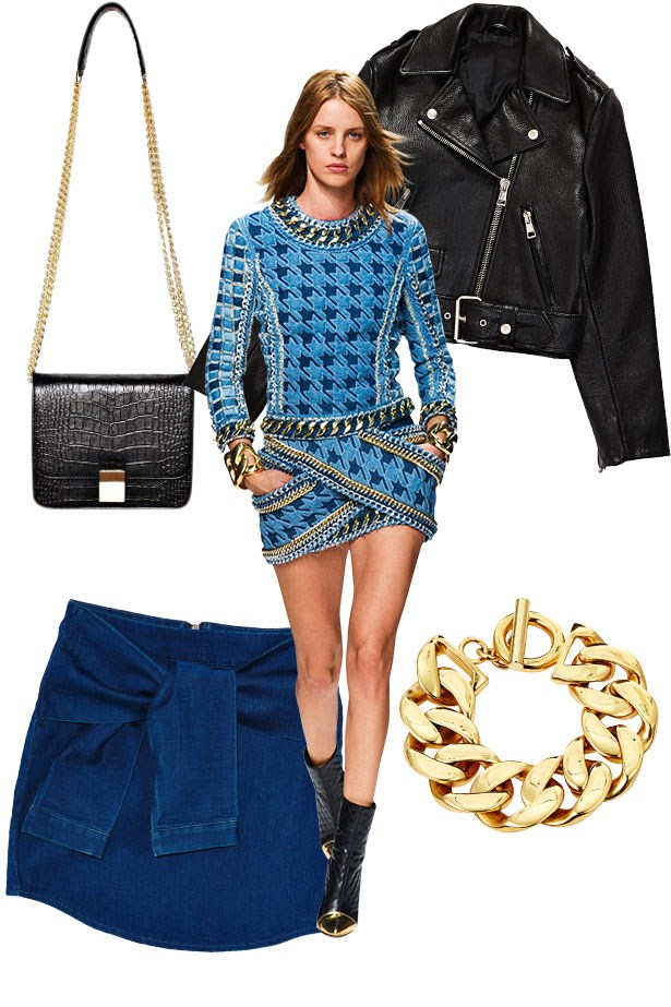 """<p><strong>Glam Slam</strong></p> <p>If you're a Balmain girl then you'll like yourdenim served dark and clean with abit of bold bling. Pare back with cool leather, gold accents and a sexy swagger.</p> <p>Leather jacket, $2,050, Acne, (02) 9360 0294. Skirt, $54.90, Muui, <a href=""""http://www.idsfashion.com.au"""">idsfashion.com.au</a>. Bracelet, $550, Sarah & Sebastian, <a href=""""http://www.sarahandsebastian.com"""">sarahandsebastian.com</a>. Bag, $595, Benah, <a href=""""http://www.thebenah.com"""">thebenah.com</a>.</p>"""