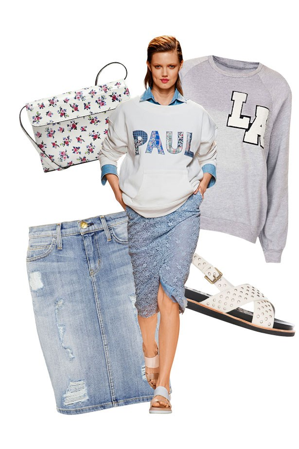 """<p><strong>Fade Out</strong></p> <p>The prettiest way to work your bleached blues, as seen at Paul & Joe, is with sweet florals, handspun patchwork and sun-faded shades of grey and cream.</p> <p>Jumper, approx $55, Topshop, <a href=""""http://www.topshop.com"""">topshop.com</a>. Sandals, $249, Gorman, <a href=""""http://www.gormanshop.com.au"""">gormanshop.com.au</a>. Skirt, approx $320, Current/Elliott, <a href=""""http://www.shopbop.com"""">shopbop.com</a>. Bag, approx $349, Carven, <a href=""""http://www.carven.fr"""">carven.fr</a></p>"""