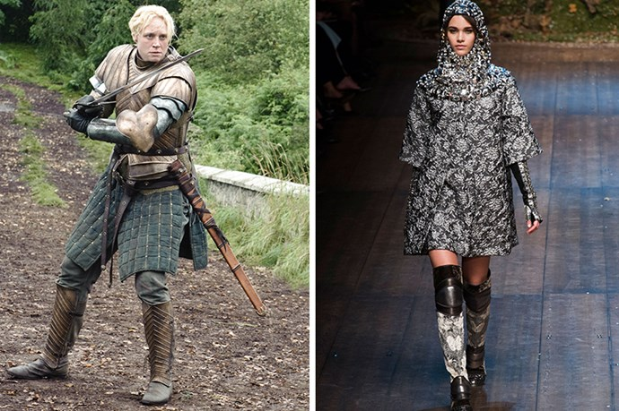 Brienne of Tarth <br><br> We're sure bad ass Brienne's dreams of knighthood (and hottie Jaime Lannister) would seem that much closer to reality in Dolce & Gabbana's charming chain mail. Sword at the ready.