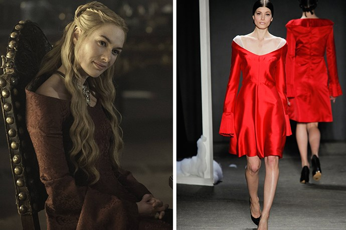 Cersei Lannister <br><br> Creepy relationship with her brother aside, we can't help but admire Cersei for the most enviable head of hair in all the Seven Kingdoms, and a wardrobe to match. We're guessing Honor's scarlet silk would pop ringside at a public execution.
