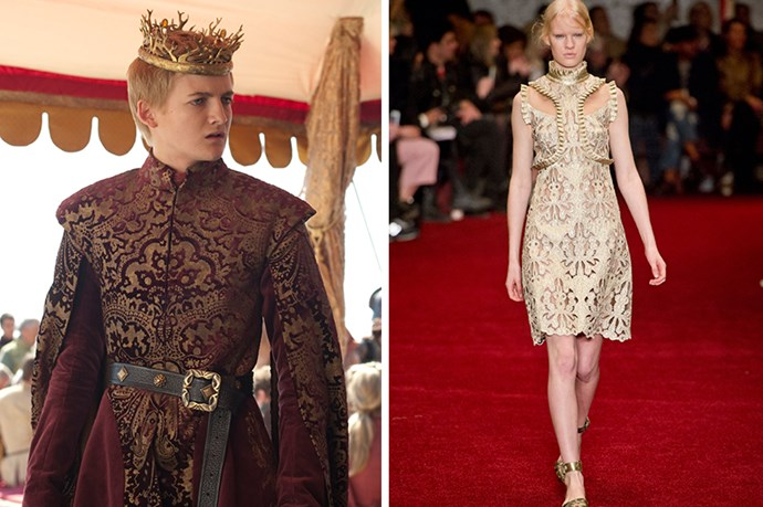Joffrey Baratheon <br><br> SPOILER ALERT!<br><br> Is there's anyone out there willing to admit they were rooting for Joffrey,  then Erdem might provide an appropriate homage. King's Landing may be better off without its sadistic brat king but the gilt trappings can stay.