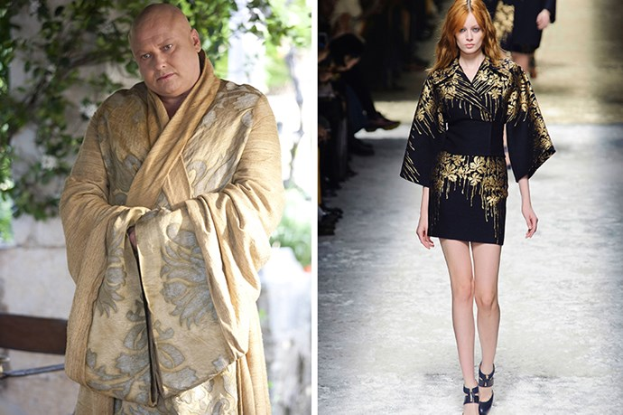 Lord Varys <br><br> We're guessing a little bird told the Master of Whisperers that the kimono robe was a flattering proposition. Blumarine is right there with him.