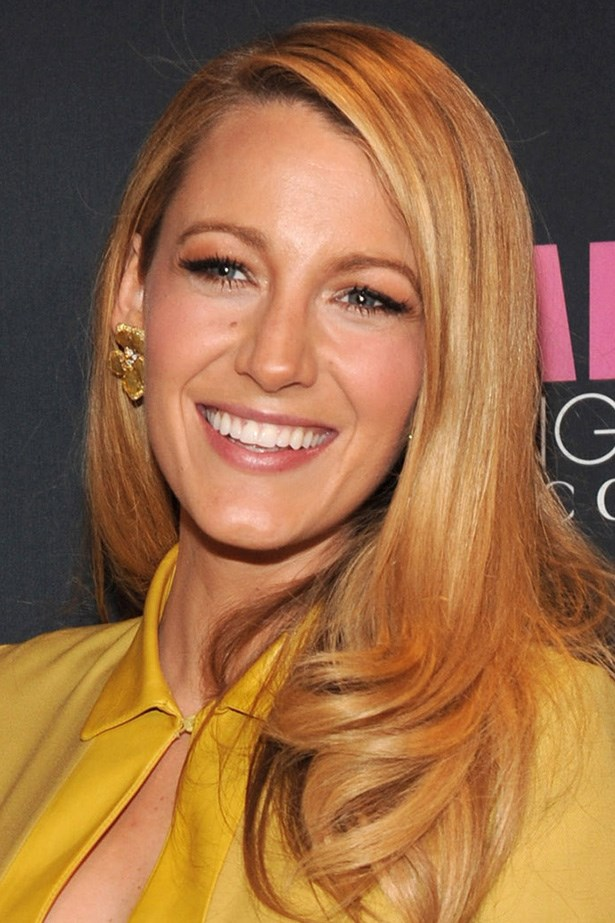 Blake Lively glows with golden skin and sleek parted waves at the Chime for Change One-Year Anniversary Event.