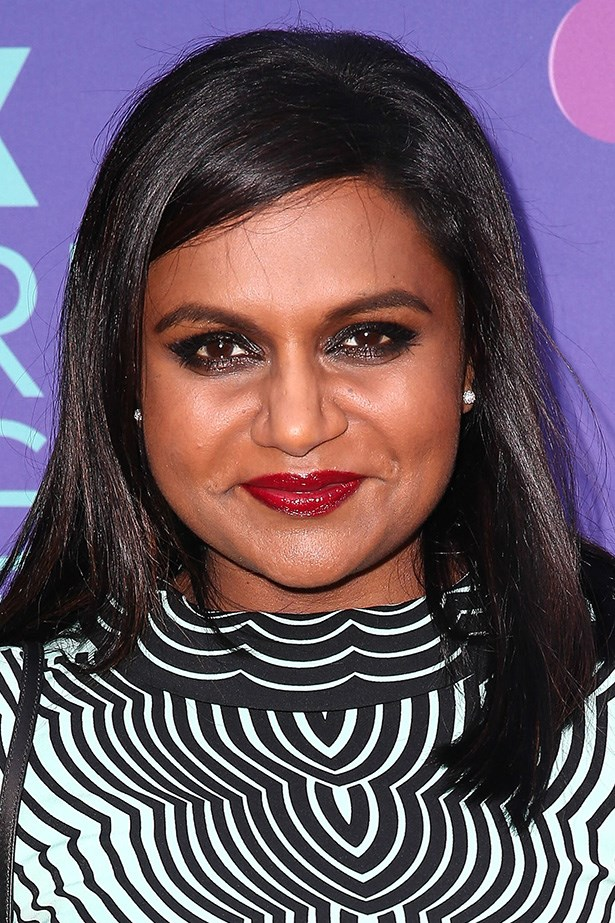 At the Fox's 'Girls Night Out' event, actress Mindy Kaling wears her mid-length locks side-parted and poker straight.