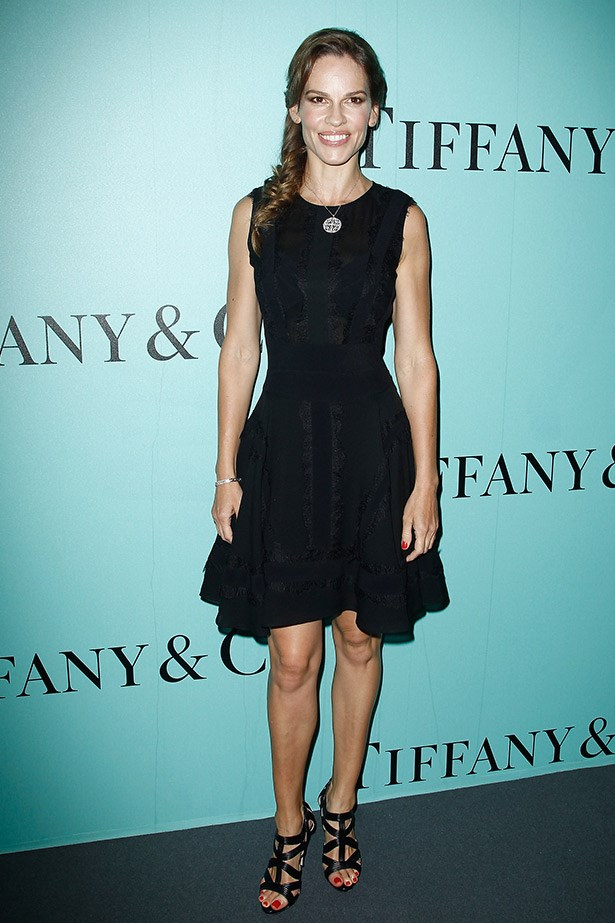 Hilary Swank wore an understated Elie Saab dress with Tiffany Enchant Diamond Pendant, Tiffany Enchant Diamond Bangle, Tiffany Enchant Diamond Stud Earrings all set set in Platinum and 18K Rose Gold.