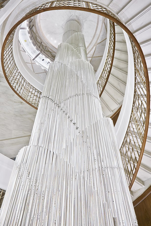The jaw-dropping staircase within the new Tiffany & Co. store.