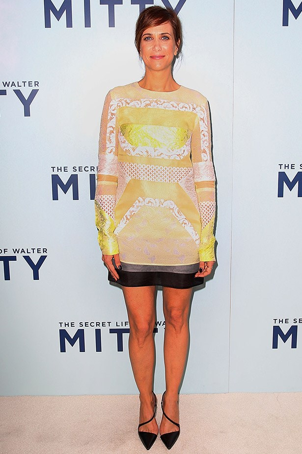While in Sydney last year, Kristen Wiig wore this lemon and cream long-sleeved dress by J.Mendel with Christian Louboutin pumps.