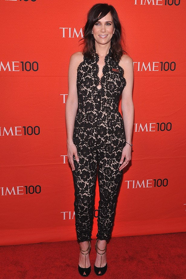 At the Time 100 Gala in 2012, Kristen Wiig looked amazing in this high-risk, but very cool Stella McCartney lace jumpsuit, paired with Gucci shoes.