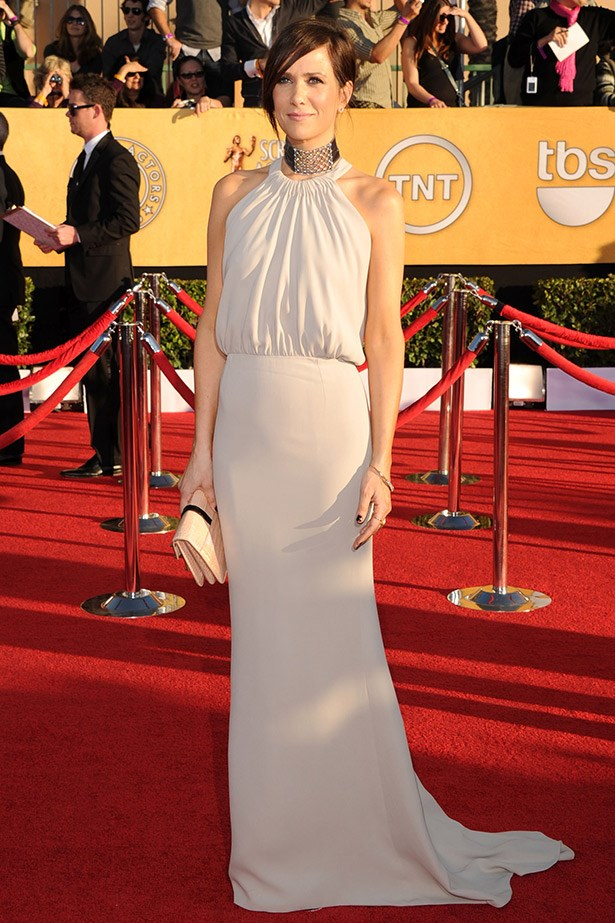 At the 2012 SAG Awards, Kristen Wiig rocked the red carpet in this beautiful Balenciaga gown and clutch. It was one of the best looks of the night.