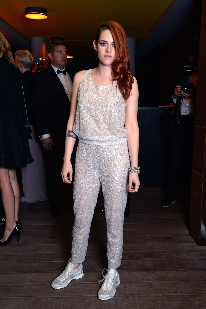 Didn't think sequins and sneakers could work together?  Kristen Stewart proves the opposite.