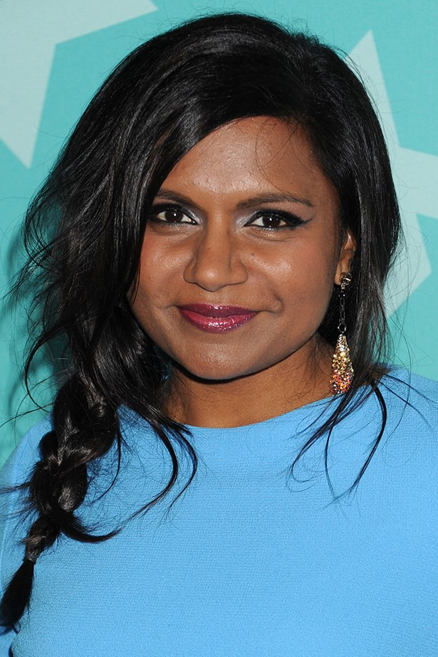 Mindy channels subtle cool with a messy plait and a sweep of liner at the 2013 Fox Programming Presentation.