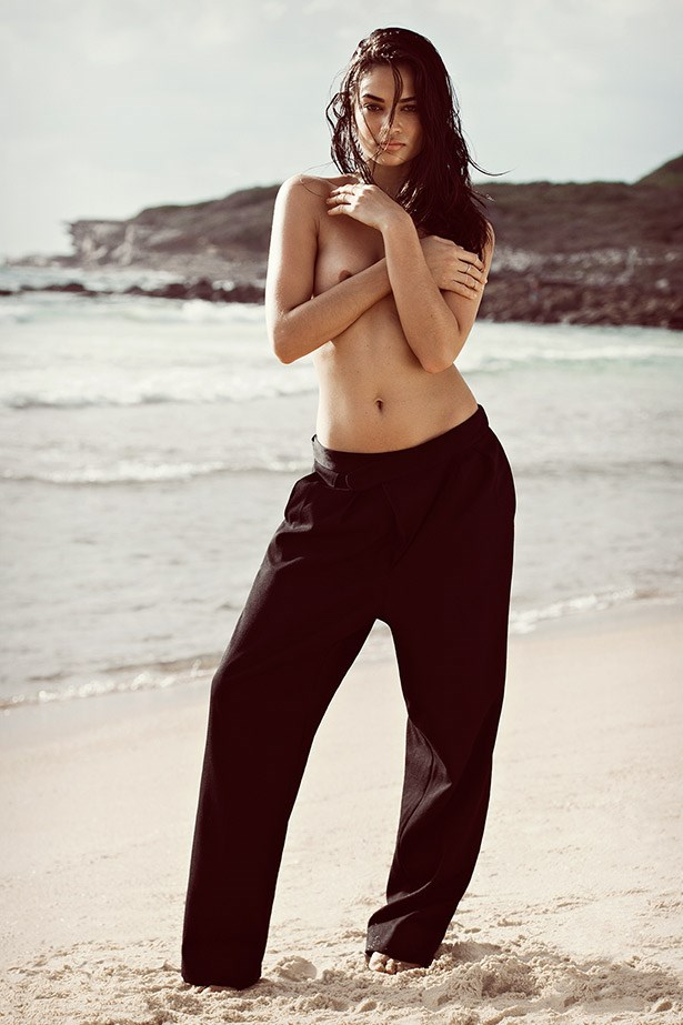 The stunning Victoria's Secret model shows off her body in Bassike trousers, $395, bassike.com and rings by Cartier (on middle finger, right hand), $1210, 1800 130 000, and By Charlotte (on left hand), from $39 bycharlotte.com.au.