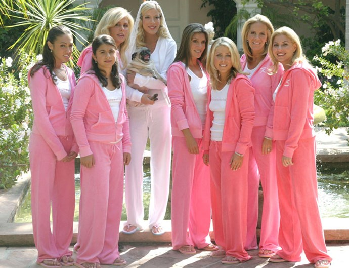 At the Tori Spelling's pre-wedding media call (yes), she handed out pink Juicy Couture suits for her bridesmaids, while she wore one in white at the Bel Air hotel.
