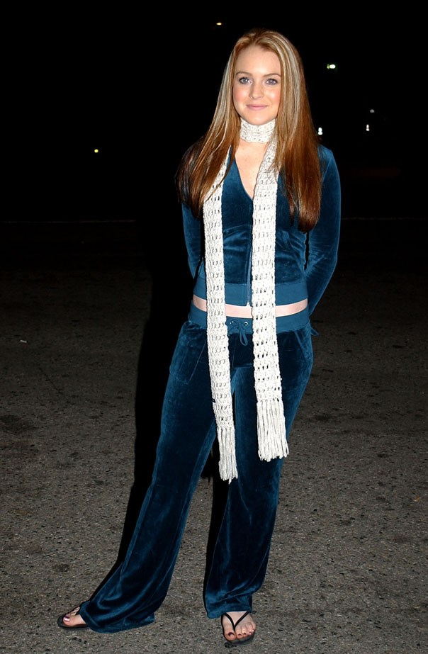 Lindsay Lohan in her JC suit in 2002. Although not her best style moment, still, the worst was yet to come. Ironically, she wore this to a tribute to Britney Spears in L.A.