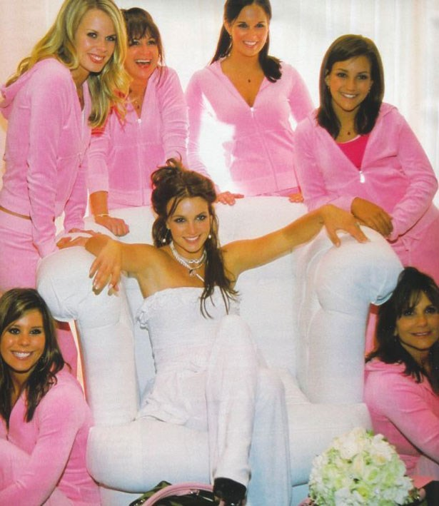 """An then this actually happened. At Britney Spears' 2004 wedding to Kevin Federline, the couple gave their bridal party personalised Juicy Couture tracksuits with """"The Maids"""" and """"Pimp Daddy""""."""