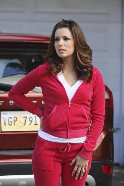 Standard Desperate Housewives attire: Eva Longoria wore Juicy Couture in almost every episode as Gabrielle Solis. She was often spotted wearing the trackies off camera while out shopping in L.A.