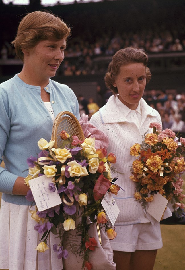 <strong>1961: Battle of the Brits <br></strong> Two British players, Angela Mortimer and Christine Truman, took to centre court to battle it out for the title. It was the first time since 1914 that two British players appeared in the final.