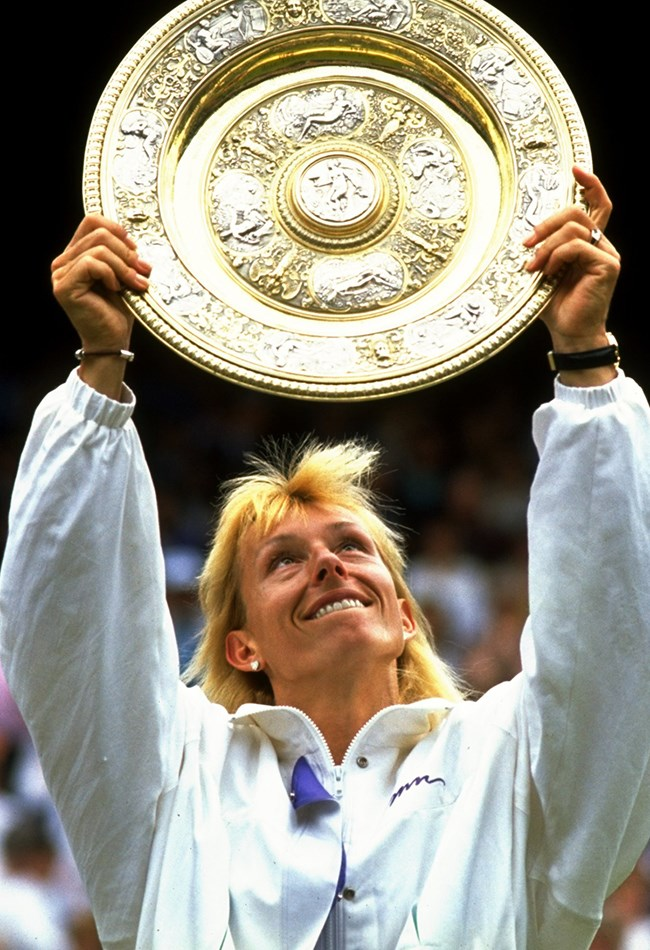 """<strong>1990: Martina Navratilova wins her ninth Wimbledon title </strong><br> This was the year Martina Navratilova broke Helen Wills Moody's record of eight Wimbledon titles. """"I wanted the record, no doubt about it,"""" said Navratilova. """"I was lucky enough to set a few records in my career, but they just happened because I played well for a long time, but when I realised I was in with a chance of breaking the Wimbledon singles record, it became a big goal of mine."""""""