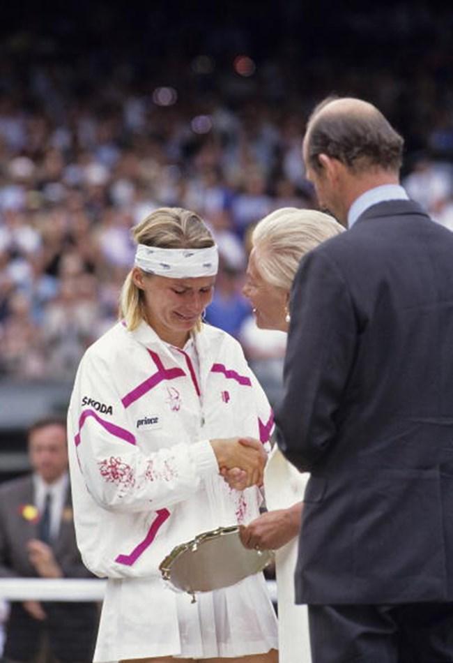 <strong>1993: Jana Novotna's tears of defeat </strong><br> Jana Novotna wept on the shoulder of the Duchess of Kent after losing to Steffi Graf.