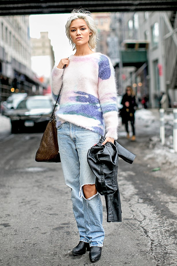 """I love the way the soft sweater and bleached vintage denim work tonally with her peroxide crop, proving pastel doesn't have to be girlie."""