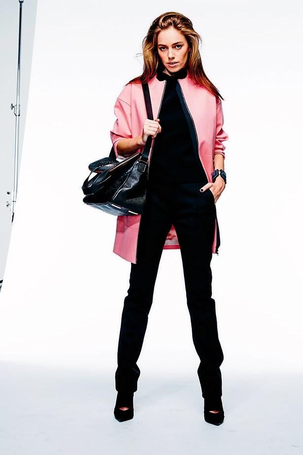 """<p><strong>RULE #01</strong></p> <p><strong>Be a show off – but showrestraint</strong></p> <p>The creative type: A sculptural coat in power pink is perfect for creatives, and ablack base keeps the look professional.</p> <p>Coat, $299, Trenery, <a href=""""http://www.trenery.com.au"""">trenery.com.au</a>; top,$1,180, Ellery, <a href=""""http://www.elleryland.com"""">elleryland.com</a>; trousers, $390, Dion Lee, <a href=""""http://www.dionlee.com"""">dionlee.com</a>; heels, $230, Witchery, <a href=""""http://www.witchery.com.au"""">witchery.com.au</a>; bag, $489, Ginger & Smart, <a href=""""http://www.ginger andsmart.com"""">ginger andsmart.com</a>; bracelet, $680, GiorgioArmani, (02) 8233 5888</p>"""