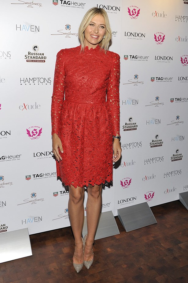 Sharapova stuns in this red lace dress.